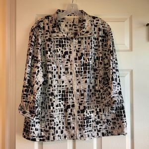 Chico's Zenergy silver and black zip up jacket